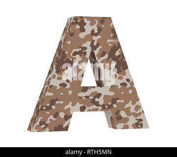 Camouflage letter. Capital Letter - A isolated on white background. 3D render Illustration - Stock Image
