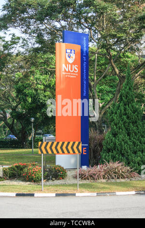 Sign for the National University of Singapore near the National University Hospital, Singapore - Stock Image