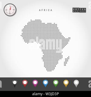 Dots Map of Africa. Simple Silhouette of Africa. Realistic Vector Compass. Set of Multicolored Map Markers. Vector Illustration. - Stock Image
