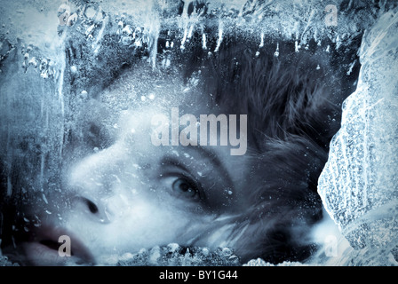 Woman in ice - Stock Image