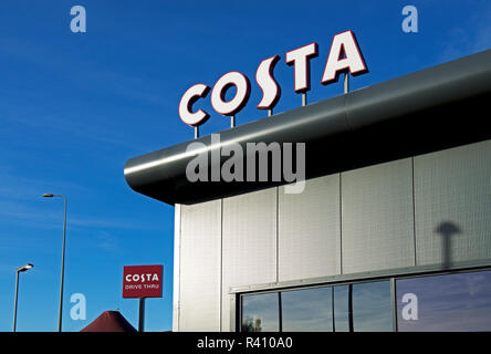 Sign on Costa Coffee café, England UK - Stock Image
