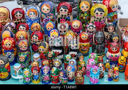 Russian Matryoshka Nesting dolls, for sale in a market place in the town of Kirkenes in Norway. - Stock Image