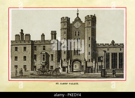 St James Palace, 1880 high quality steel engraving of the Tudor royal palace built by King Henry VIII on the site of a former leper colony at the junction of St James's Street and Pall Mall - Stock Image