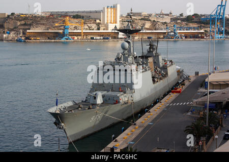 The South Korean Navy destroyer ROKS Munmu the Great during a harbour visit to Malta - Stock Image
