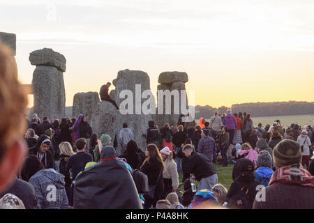 Stonehenge, Amesbury, UK, 21st  June 2018,   Someone climbed onto one of the stones at the summer solstice  Credit: Estelle Bowden/Alamy Live News. - Stock Image