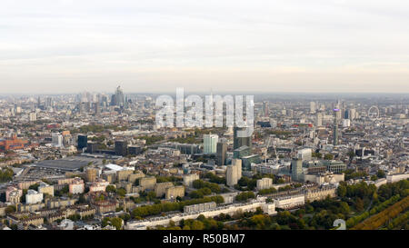 Aerial view cityscape of London with urban architectures. Icons of the London skyline feat residential neighborhood such as Euston, Marylebone UK - Stock Image