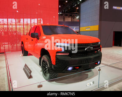Model of 2019 Chevrolet Silverado pickup truck built with Legos. - Stock Image