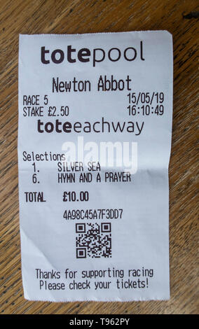 Tote betting slips for Silver Sea and Hymn and a Prayer at Newton Abbot horse racing course, Devon, UK. - Stock Image