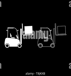 Forklifts truck Lifting machine Cargo lift machine Cargo transportation concept icon outline set white color vector illustration flat style simple - Stock Image