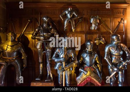 Armour display, Warwick Castle, Warwick, UK - Stock Image