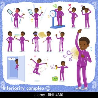 A set of school boy in sportswear on inferiority complex.There are actions suffering from smell and appearance.It's vector art so it's easy to edit. - Stock Image