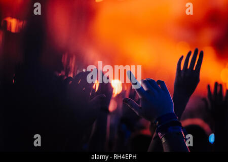 Hands raised, cheering in concert audience - Stock Image