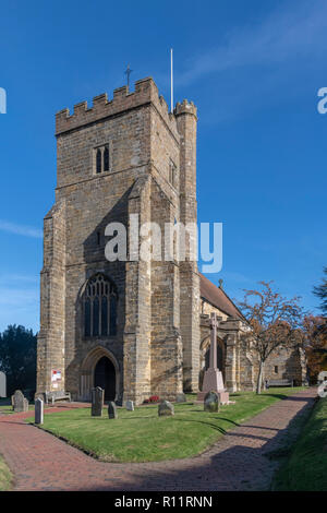 Outside St Mary The Virgin Church, Battle, East Sussex. Close to the site of the Battle of Hastings in 1066. Twinned with St Valery Sur Somme. - Stock Image