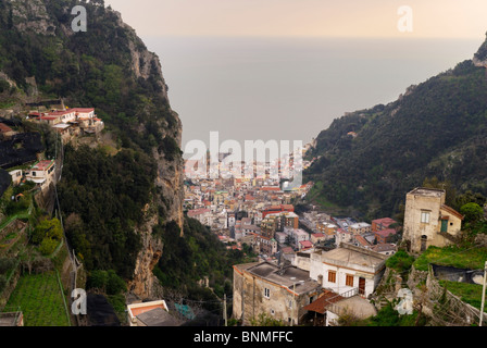 Looking across Amalfi town from the hills behind. Amalfi Coast, Campania, Italy - Stock Image