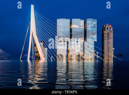 Flooded Rotterdam, Netherlands digital manipulation concept with Erasmus Bridge and Kop Van Zuid under water - Stock Image