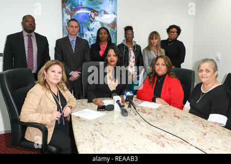 """During a press conference at the law offices of Hilaire McGriff PC, it was announced that former nurses in the Labor & Delivery (""""L&D"""") Department of Huntington Memorial Hospital in Pasadena, California, Martha Beltran and Veronica Loving, filed suit against the hospital alleging discrimination and retaliation  Featuring: David McGriff, Martha Beltran, Barry M. Appell, Mika Hilaire, Tanoka Reed, Ainsley Benavides, Tianee Alexander, Veronica Loving, Myrna Hawthorne Where: Los Angeles, California, United States When: 20 Dec 2018 Credit: Sheri Determan/WENN.com - Stock Image"""