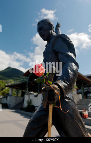 The statue of Freddie Mercury is on the waters edge of Lake Geneva in Montreux Switzerland at the base of the Swiss - Stock Image