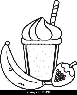delicious tasty food fruits with milkshake cartoon vector illustration graphic design - Stock Image