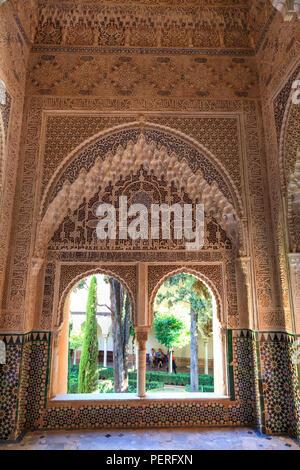 Ornate window in the Mirador de Daraxa at the Alhambra Palace in Granada Spain - Stock Image
