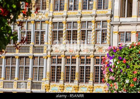 Brussels facade of La Louve, Le Cornet, Le Renard buildings in Grand Pplace - Stock Image