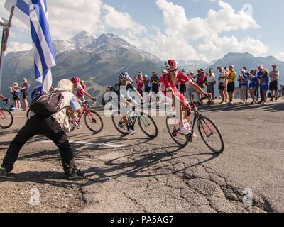 Anthony Perez and Rafal Majka Tour de France 2018 cycling stage 11 La Rosiere Rhone Alpes Savoie France - Stock Image