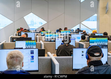 Digital Learning Lab at the Calgary Central Library, also known as the Calgary New Central Library (NCL) - Stock Image