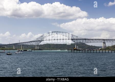 The Bridge of the Americas, a Famous International Landmark Road Bridge in Panama which spans the Pacific Entrance to the Panama Canal - Stock Image