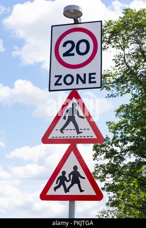 Multiple traffic signs, Langley Road, Langley, Berkshire, England, United Kingdom - Stock Image