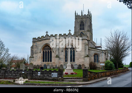 Haxey, Lincolnshire, England, UK – The Village Parish Church of Saint Nicholas the sight of the traditional ancient tradition of The Haxey Hood since the 14th Century. - Stock Image