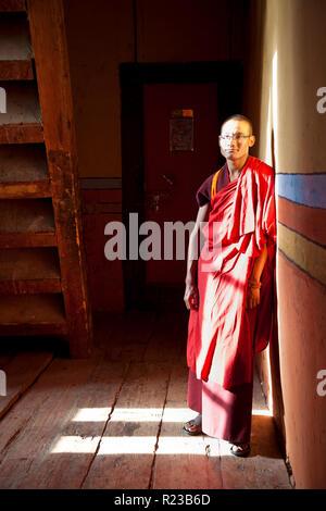 Bumthang Bhutan - October 2011: Monk at Jakar Dzong or monastery, Jakar, Bhutan - Stock Image