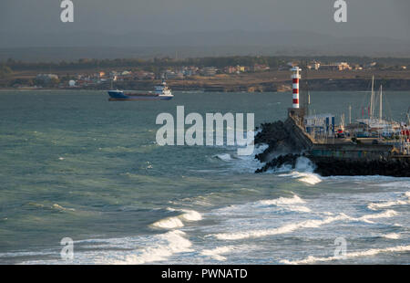 Ship anchored outside port in Burgas, Bulgaria - Stock Image