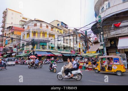 Corner of 13 street and 110 streets, Phnom Penh, Cambodia, Asia - Stock Image