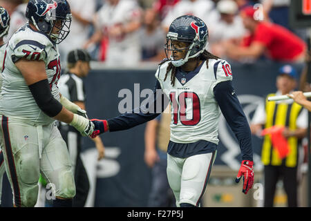 Houston, Texas, USA. 13th Sep, 2015. Houston Texans wide receiver DeAndre Hopkins (10) celebrates with Houston Texans - Stock Image