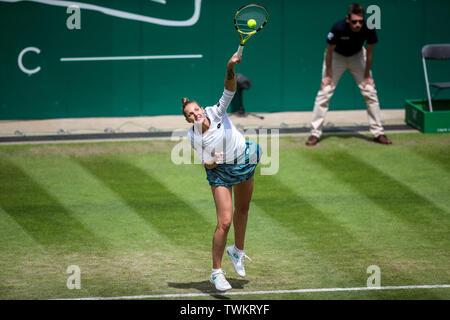 Edgbaston Priory Club, Birmingham, UK. 21st June, 2019. WTA Nature Valley Classic tennis tournament; Kristyna Pliskova (CZE) serves in her quarterfinal match against Barbora Strycova (CZE) Credit: Action Plus Sports/Alamy Live News - Stock Image