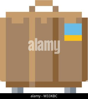 Suitcase Brief Case Pixel 8 Bit Game Art Icon - Stock Image
