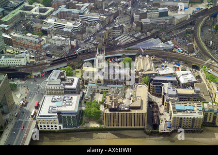 Aerial view of Southwark Cathedral, the Golden Hinde and Borough Market in the Southwark area of South London - Stock Image