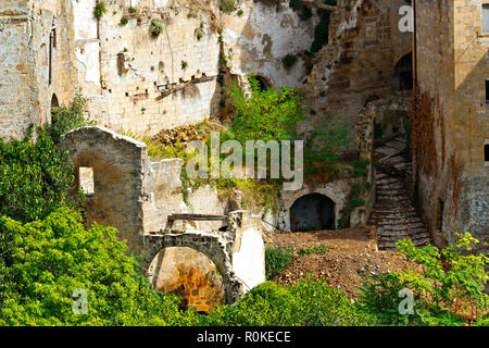 Mysterious medieval ruins, Sorano, Province of Grosseto, Tuscany, Italy - Stock Image