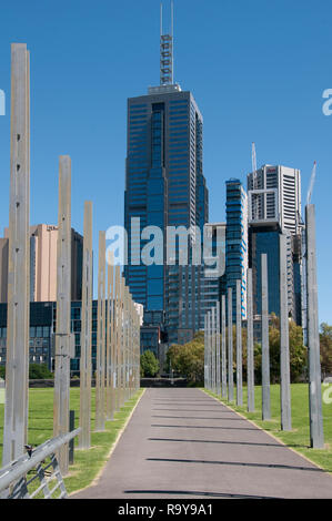 Office towers on Flinders Street, seen from Birrarung Marr park, Melbourne, Australia, December 2018 - Stock Image