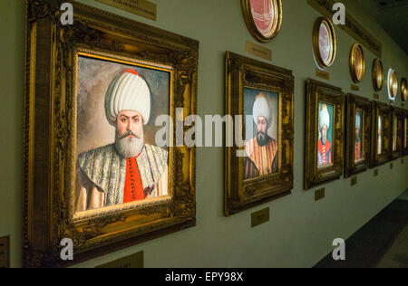 Portrait painting of Osman Bey and other Sultans of the Ottoman Empire at Military Museum, Istanbul, Turkey - Stock Image