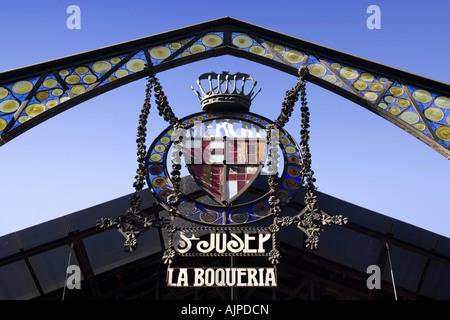 Barcelona Ramblas Mercat de Sant Josep La Boqueria market Entrance sign - Stock Image