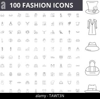 Fashion line icons, signs, vector set, outline illustration concept  - Stock Image