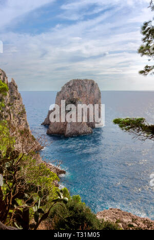 Faraglioni rock on Capri island, Italy. One of magic views in Capri island, close to Naples. By the way, locals say that they have seen sirens on this - Stock Image
