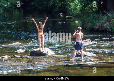 Summer nude, young woman, girl, Dyje River, Czech Republic - Stock Image