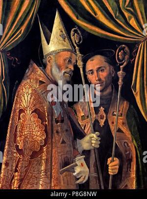 Bartolomeo Montagna (1450-1523), San Biagio and saint bishop, 1500-1502, tempera on wood  Italy Italian - Stock Image