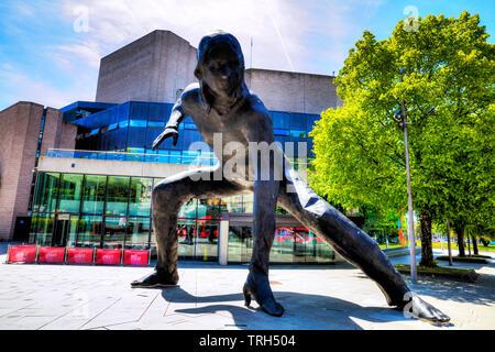 Theatre Royal Plymouth, Devon, UK, England, Theatre Royal Plymouth statue, sculpture, Theatre Royal Messenger, Theatre Royal sculpture, building, UK - Stock Image