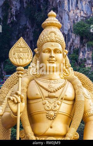 Batu Caves, Hindu God Murugan, God of War, Selangor, Malaysia. - Stock Image