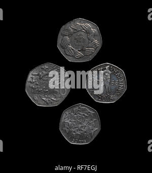 UK 50 pence coins covering war and peace in Europe. - Stock Image