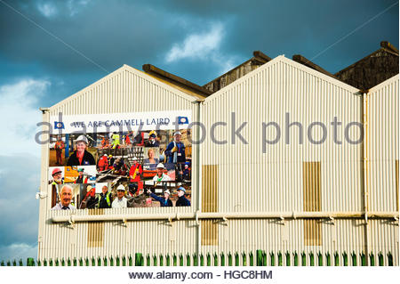 Stock Photo Cammell Laird Shipyard in Birkenhead, Wirral, England, showing a yellow crane & 'We are Cammell - Stock Image