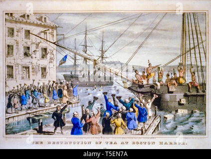The Destruction of Tea at Boston Harbor, hand coloured engraving depicting the 1773 Boston Tea Party, Nathaniel Currier,1846 - Stock Image