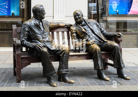 A sculpture called Allies featuring Winston Churchill and Franklin Roosevelt located on Bond Street,London, England, - Stock Image